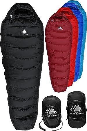 Hyke & Byke Snowmass -15ºC Saco de Dormir de Plumón - Saco de Dormir Adulto Momia con Base ClusterLoft Ligero para Excursiones y Camping – Camping Accesorios en 5 Colores Diferentes: Amazon.es: