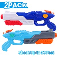 FiGoal 2 PCS Water Gun for Kids Adults Super Squirt Gun Shoot Up to 36 Feet High Capacity Water Soaker Blaster Summer Toy for Swimming Pool Party Outdoor Beach Sand Water Fighting (Blue+ Light Blue)