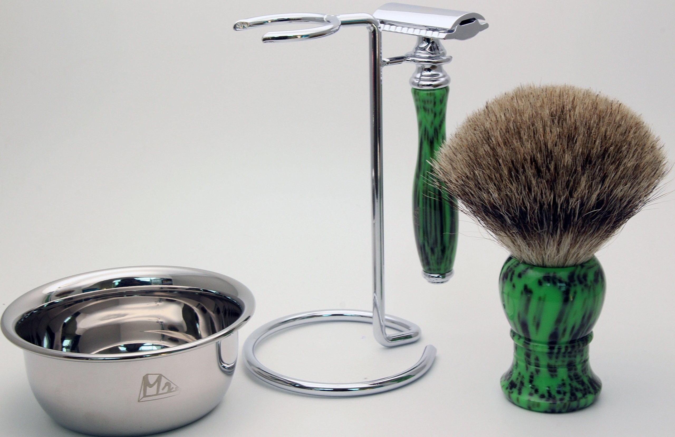 Mr 4 IN 1 Shaving Set with Safety Razor,Bowl,Stand,Hand Crafted 100% Pure Badger Shaving brush.Great Christmas Gift Idea for Your man, father,husband,boyfriend,brother,boss (green)