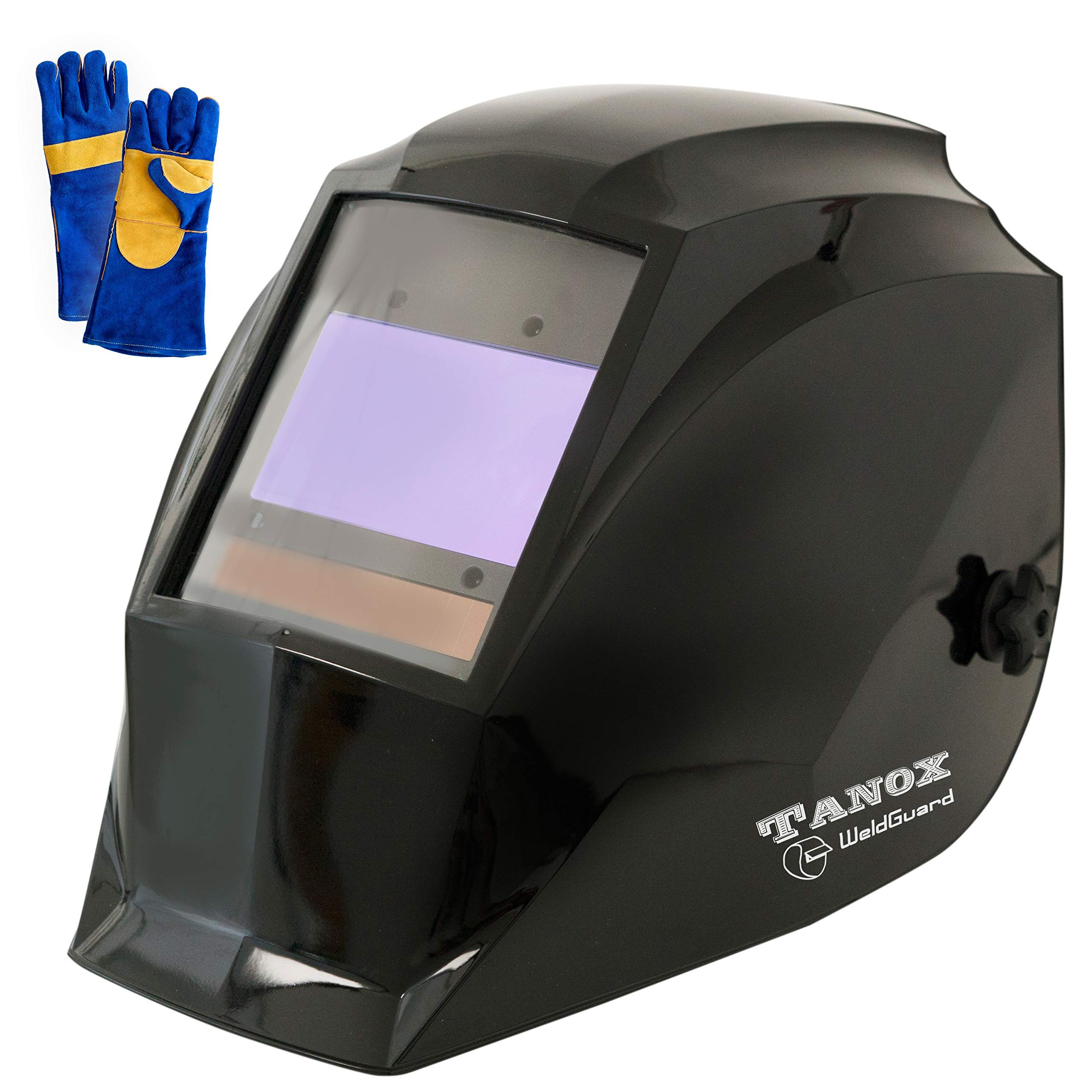 Digital Control Auto Darkening Solar Powered Welding Helmet ADF-210S, Solar Shade Lens, Tig Mig MMA, Adjustable Range 4/9-1316 Bonus 16'' Fire Retardant Welding Gloves, Carrying Bag and Spare Lens by TANOX (Image #1)