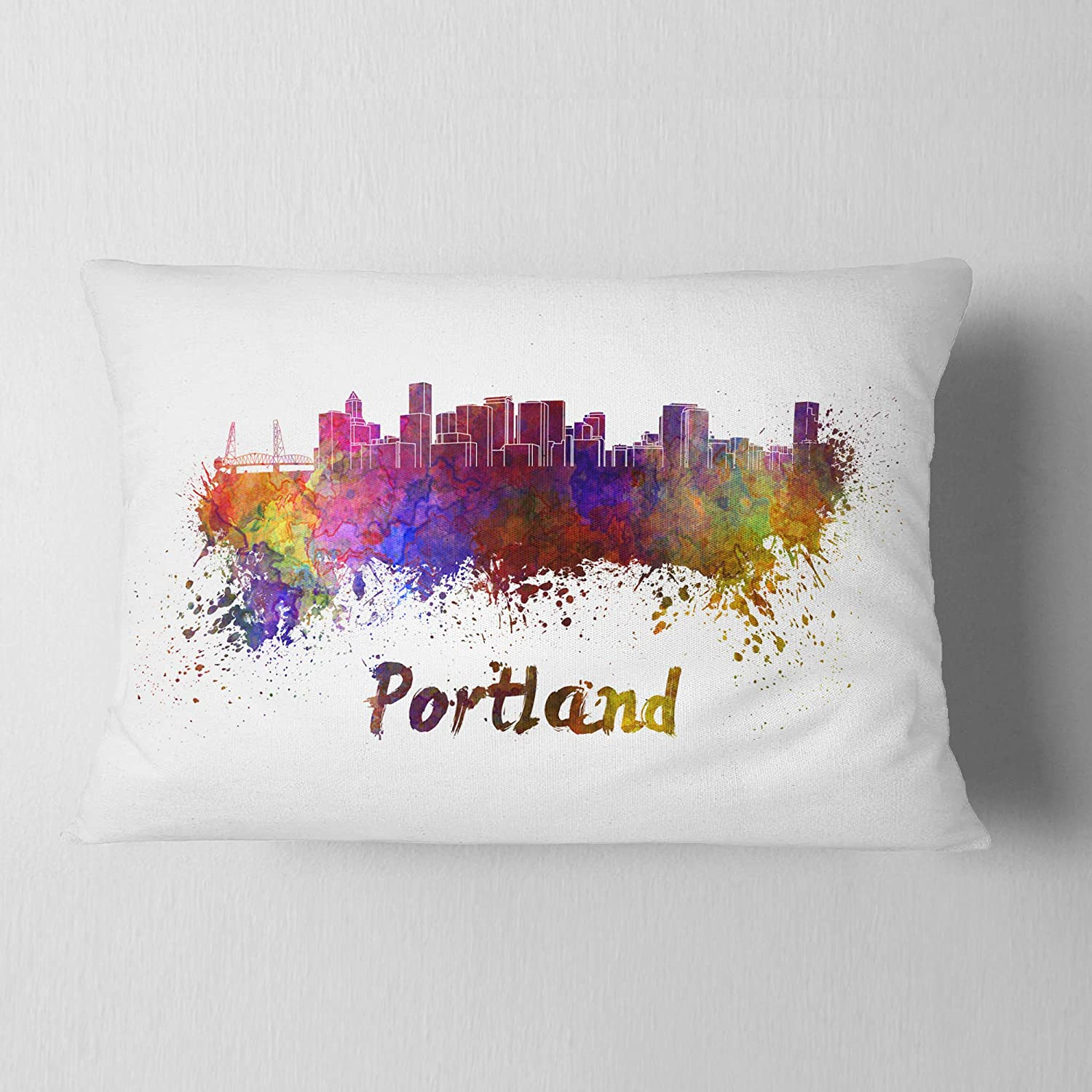 Designart CU6605-12-20 Portland Skyline' Cityscape Lumbar Cushion Cover for Living Room, Sofa Throw Pillow 12 in. x 20 in. in, Insert Printed On Both Side