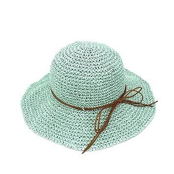 Amazon.com  Eric Hug hat Summer Straw Hat Women Foldable Sun Hats ... 9fb6e3658af