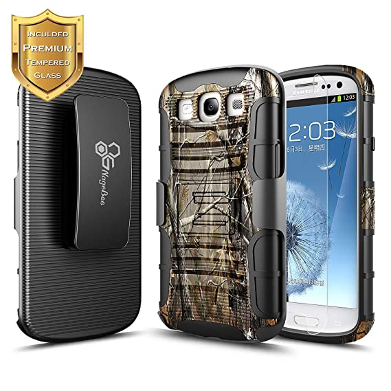 online store 567cd 07499 Galaxy S3 Case, NageBee Built-in Kickstand Full-Body Shockproof Armor Belt  Clip Holster Heavy Duty Protective Case w/[Tempered Glass Screen Protector]  ...