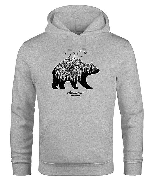 buy online 7b6f4 fb2a5 Neverless Hoodie Herren Bär Abenteuer Berge Wald Bear Mountains Adventure  Kapuzen-Pullover Männer