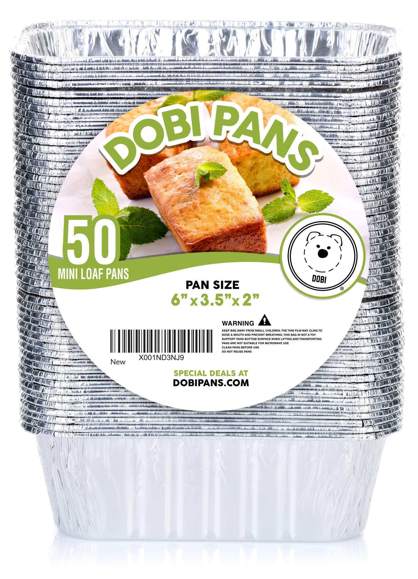 DOBI (50 Pack) Mini Loaf Baking Pans - Disposable Aluminum Foil 1lb Small Bread Tins, 6'' X 3.5'' X 2''