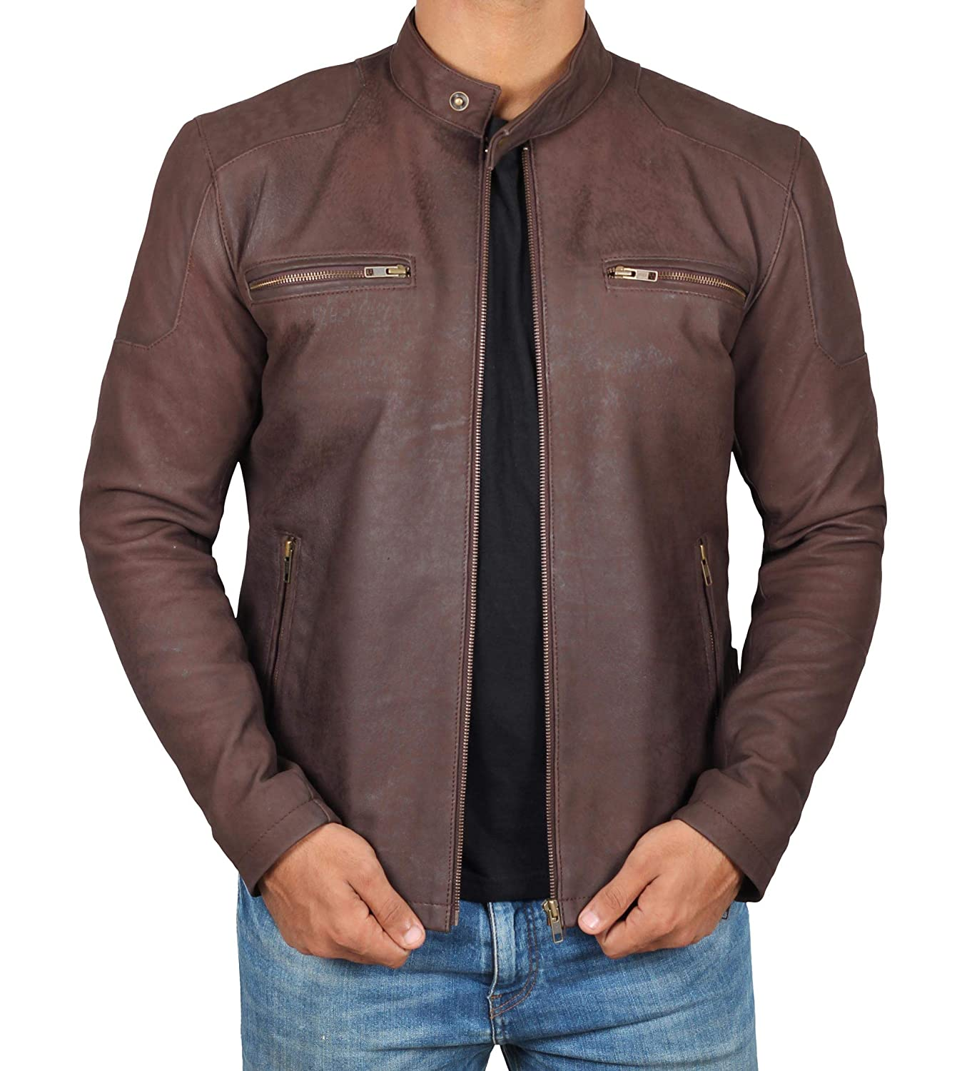 Decrum Super Natural Distressed Leather Jackets Men - Brown Leather Jacket Men