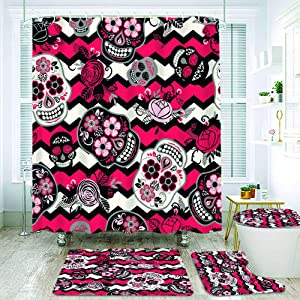 COVASA 4Pcs Shower Curtain Sets with Non Slip Rugs,Toilet Lid Cover and Bath Mat,Dia de Los Muertos Day of The Dead,Waterproof Durable Bathroom Decor Bath Curtains 12 Hooks Included