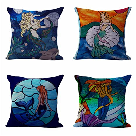 amazon com set of 4 cushion covers stainglass mermaid patio rh amazon com how to make covers for outdoor furniture cushions replacement covers for outdoor furniture cushions