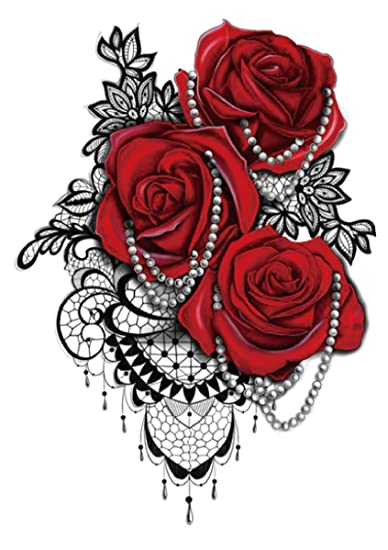 Amazoncom Jewelry Red Rose Lace Large 825 Half Sleeve Arm Tattoo