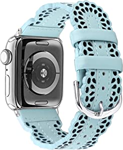 Secbolt Leather Bands Compatible with Apple Watch Band 38mm 40mm iWatch SE Series 6 5 4 3 2 1, Breathable Chic Lace Leather Strap for Women, Turquoise