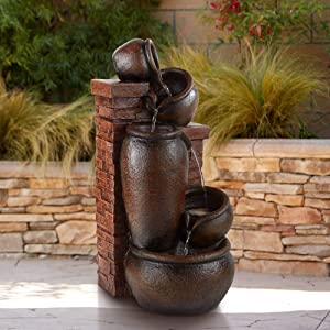 John Timberland Pot and Bricks Rustic Outdoor Floor Water Fountain with Light LED 32