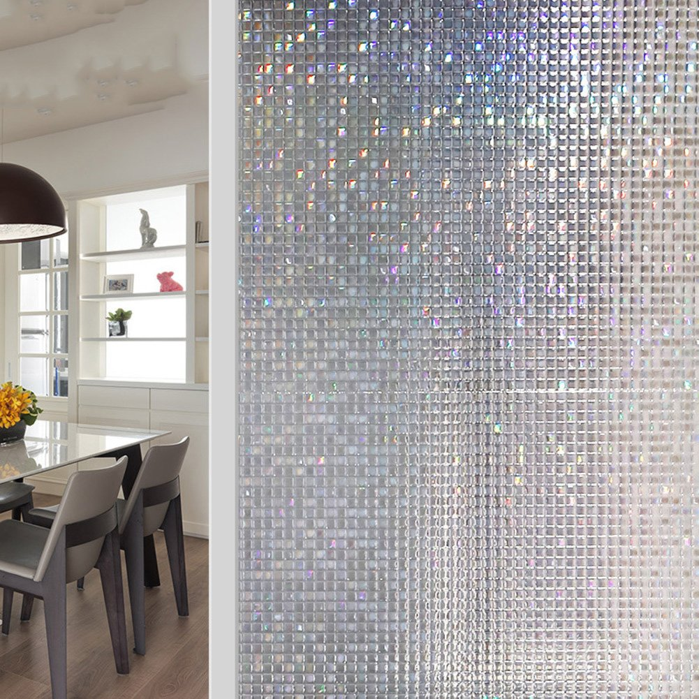 JiaQi Mosaic Window films,No glue static film,Static decorative films Sun protection Thermal insulation Decoration Wc Bathroom Opaque opacity No glue static film-A 60x300cm(24x118inch)