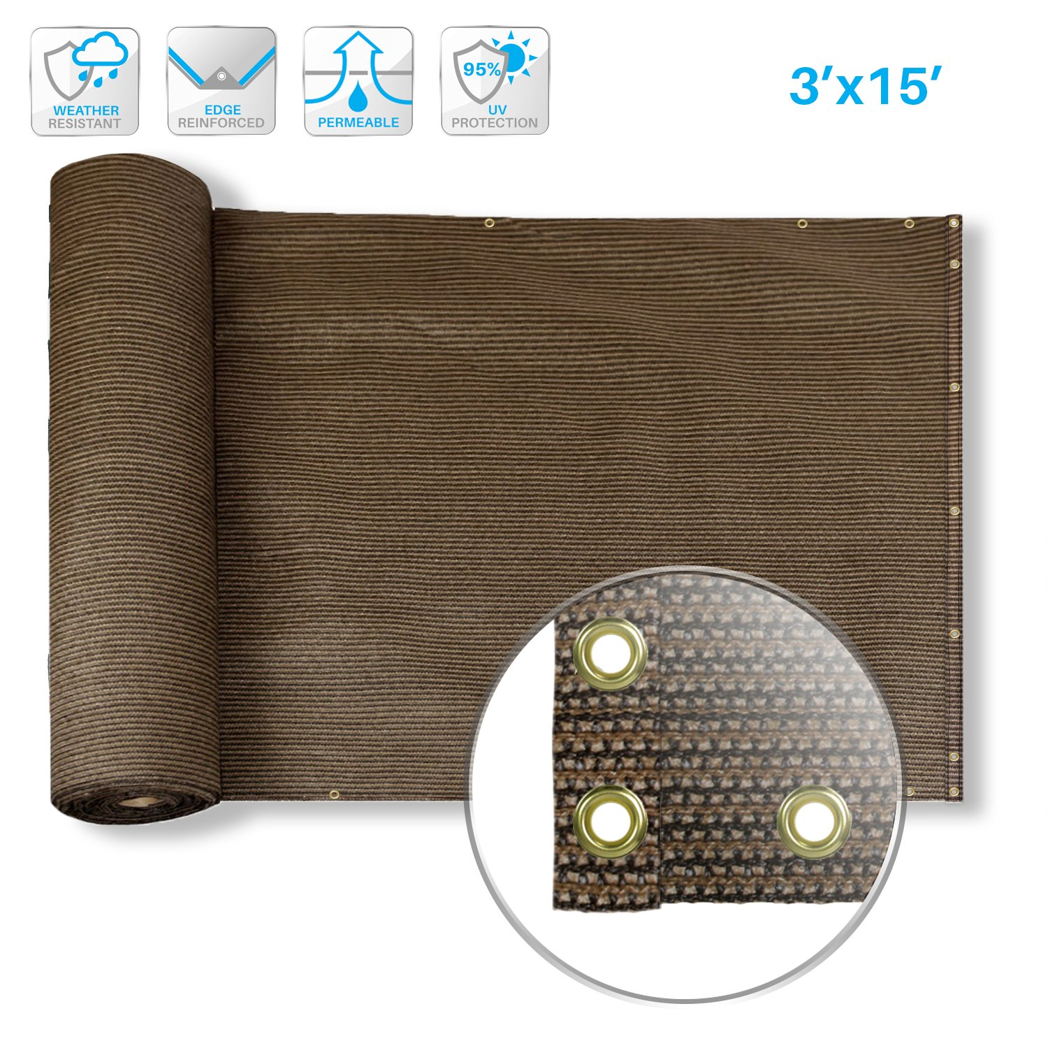0112ed4e Amazon.com : Patio Deck Privacy Screen 3' x 15' Perfect for Outdoor,  Backyard, Balcony, Pool, Porch, Railiing, Gardening, Fence Shield Rails  Protection ...