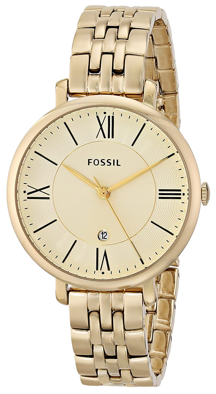 8d204b719 Amazon.com: Fossil Women's ES3434 Jacqueline Gold-Tone Stainless Steel Watch:  Fossil: Watches