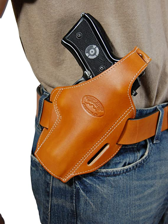 Barsony New Saddle Tan Leather Concealment Pancake Holster for Full Size 9mm 40 45 Pistols