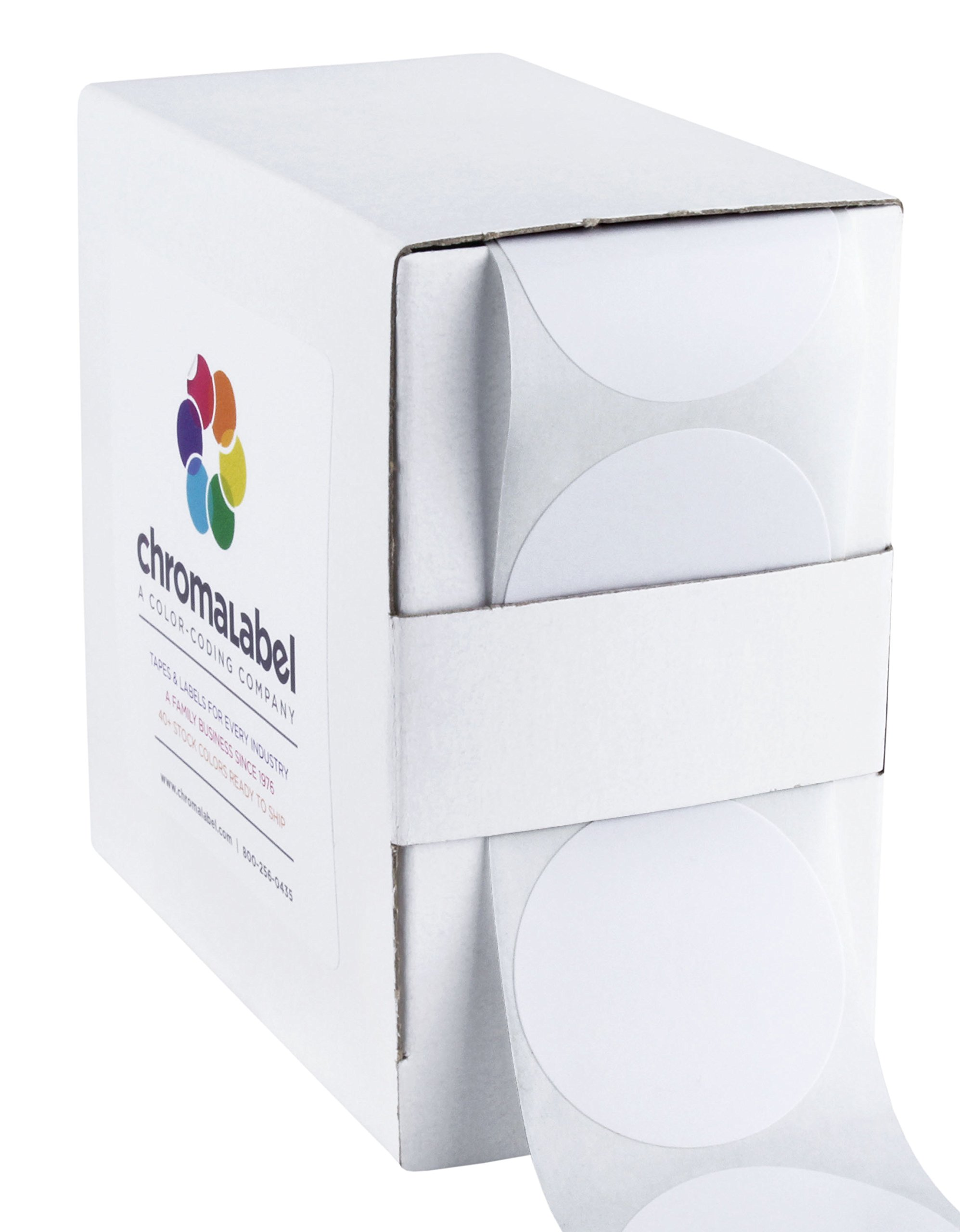 1-1/2 White Dot Stickers | Permanent Adhesive, 1.5 in. Writable Surface - 500 Round Labels per Dispenser Box