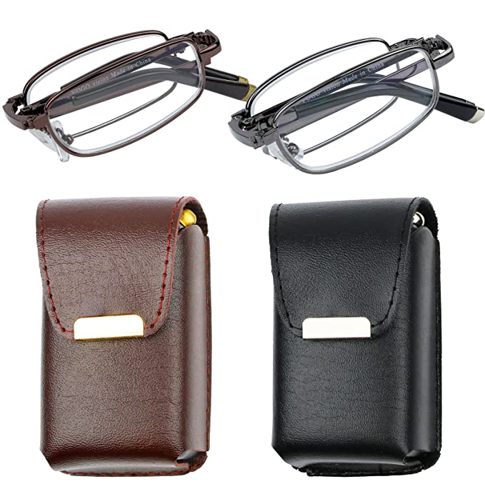 0af4488f1c Reading Glasses Set of 2 Fashion Folding Readers with Leather Cases Brown  and Gunmetal Glasses for