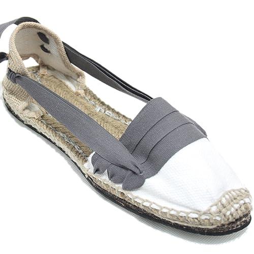 Alpargatas Tradicionales Planas Suela de Goma Diseño Tres Vetas o Tabernero Color Gris: Amazon.es: Zapatos y complementos