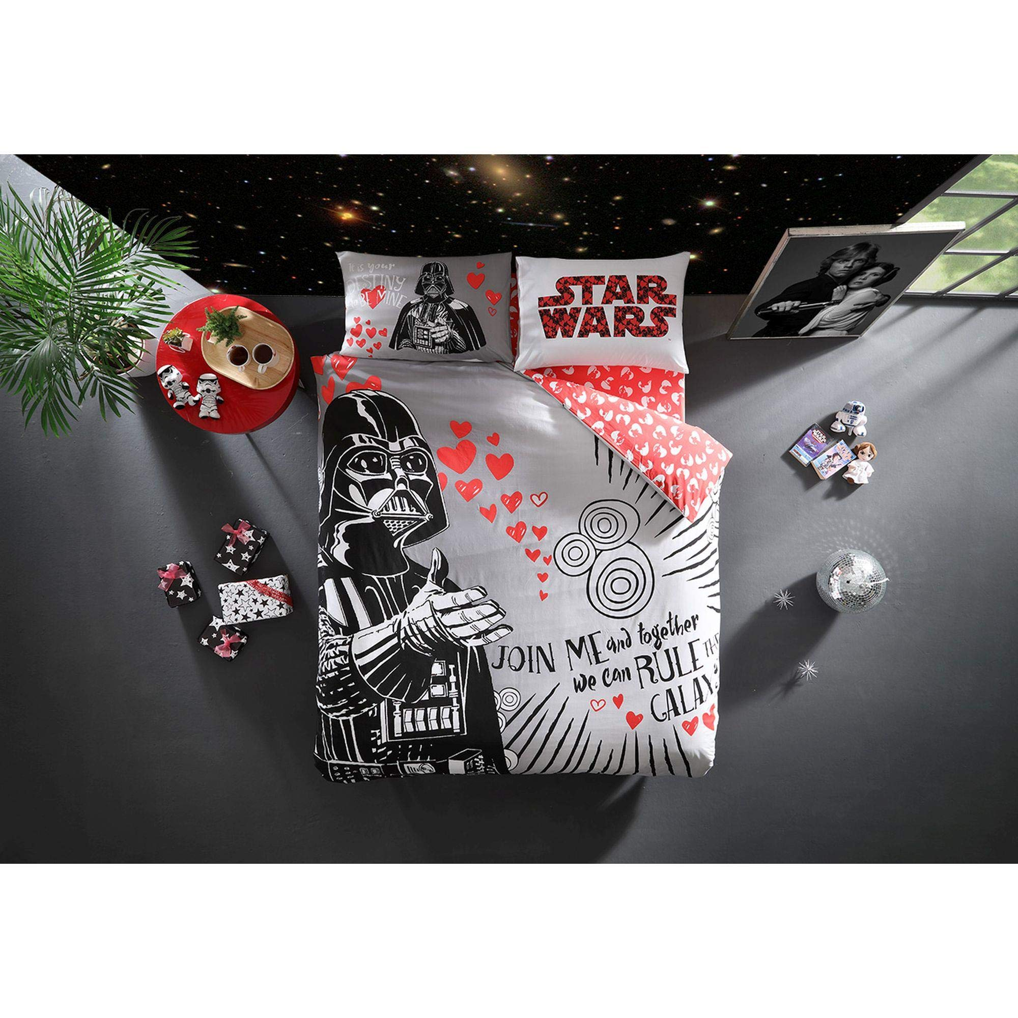 Original Licensed Star Wars Love Valentine's Day Duvet Cover Set, 100% Cotton, Double/Queen Size, 4 Pieces by TI Home (Image #1)