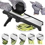 Mandoline Slicer, 3 in 1 Stainless Steel Mandoline Slicer Adjustable Kitchen Food Mandolin Vegetable Julienne Slicer Chopper Cutter for Fruits from Paper Thin to 9mm(Safety Gloves Included) (Green)