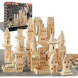 {150 Piece Set} Wooden Castle Building Blocks Set FAO SCHWARZ Toy Solid Pine Wood Block Playset Kit for Kids, Toddlers, Boys,