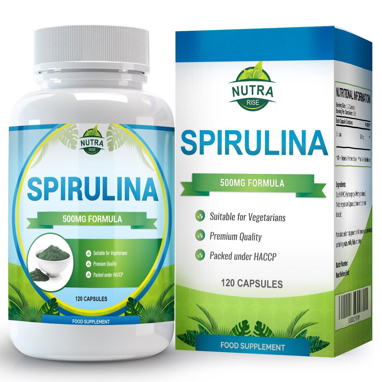 Suplemento Spirulina, Máxima Potencia, Puro Extracto de Supercomida, Beneficia Salud y Bienestar con Energía y Aumento del Sistema Inmunitario, Producido en ...
