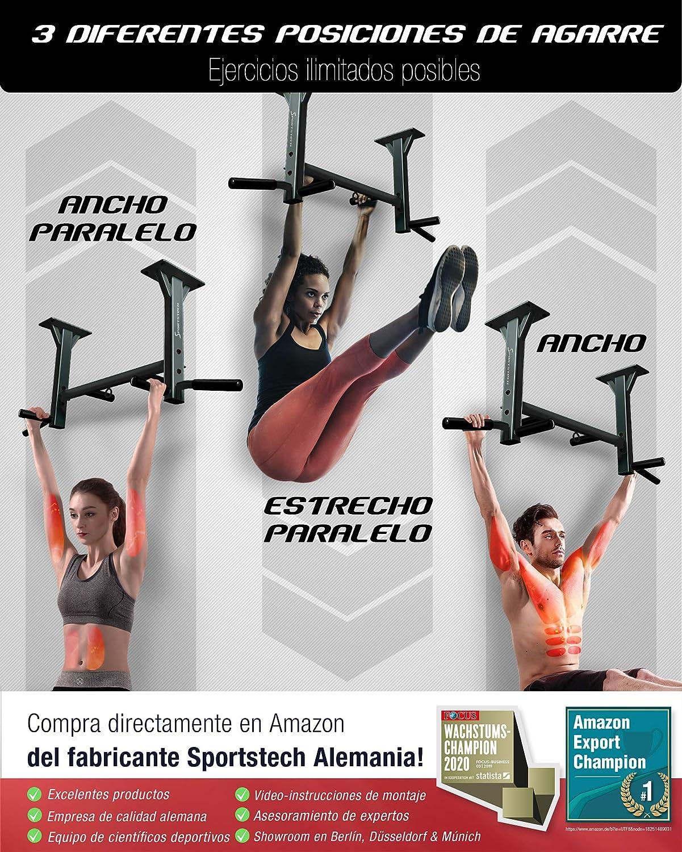 Sportstech Barra de dominadas para Techo 4en1 KS400, 3 Ranuras para TRX & Bolsa de Boxeo, 6 empuñaduras Antideslizantes, Muy Estable, Montaje en ...