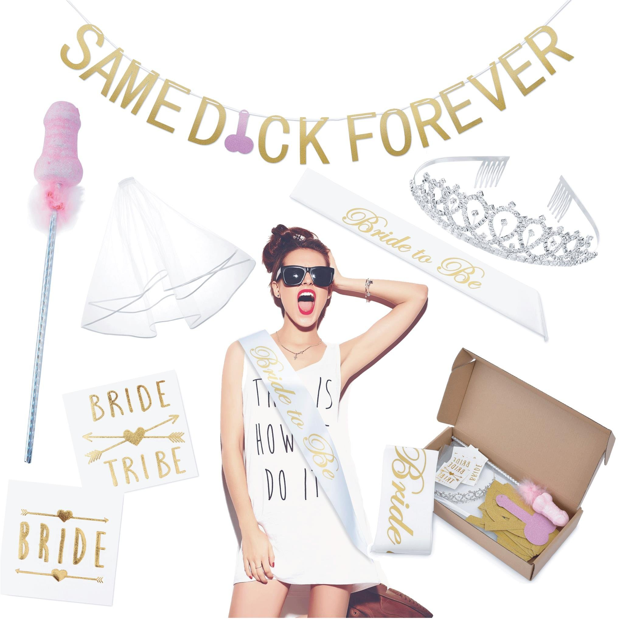 Bachelorette Party Supplies Kit: Bridal Shower Decoration Set, Naughty Hen Party Decor - Bridal Sash, Tattoos, Veil, Rose Gold Same D Forever Banner & Dirty Wand for Bride to be & Bridesmaids by MERRI