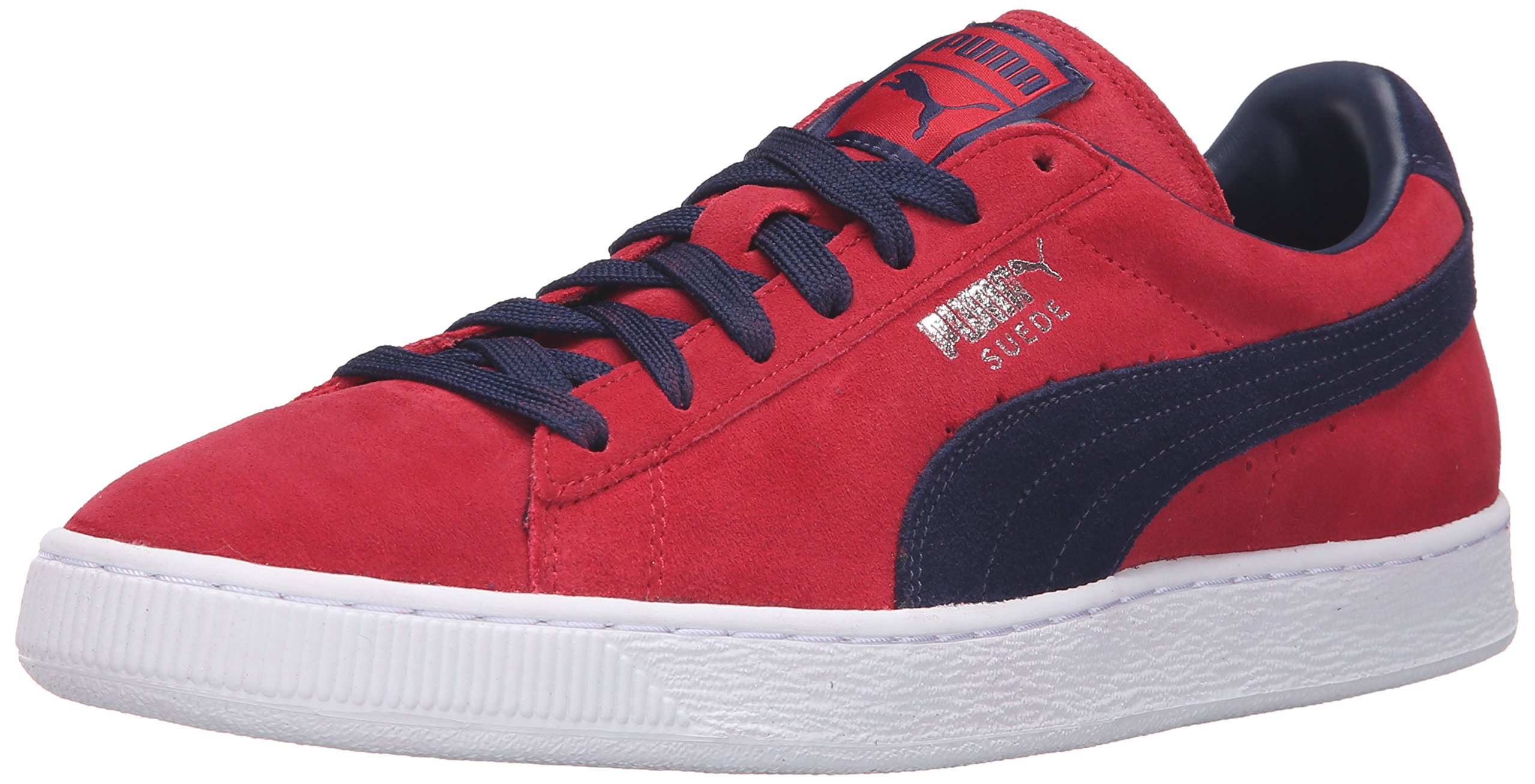 PUMA Men's Suede Classic+-M Fashion Sneaker, Barbados Cherry/Peacoat, 9 M US