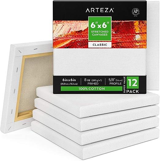 ARTEZA Lienzos blancos estirados e imprimados   15,2x15,2 cm   Pack de 12   100% algodón   Lienzos de pintura acrílica, óleo y medios húmedos   Para artistas profesionales, aficionados y principiantes: Amazon.es: Hogar