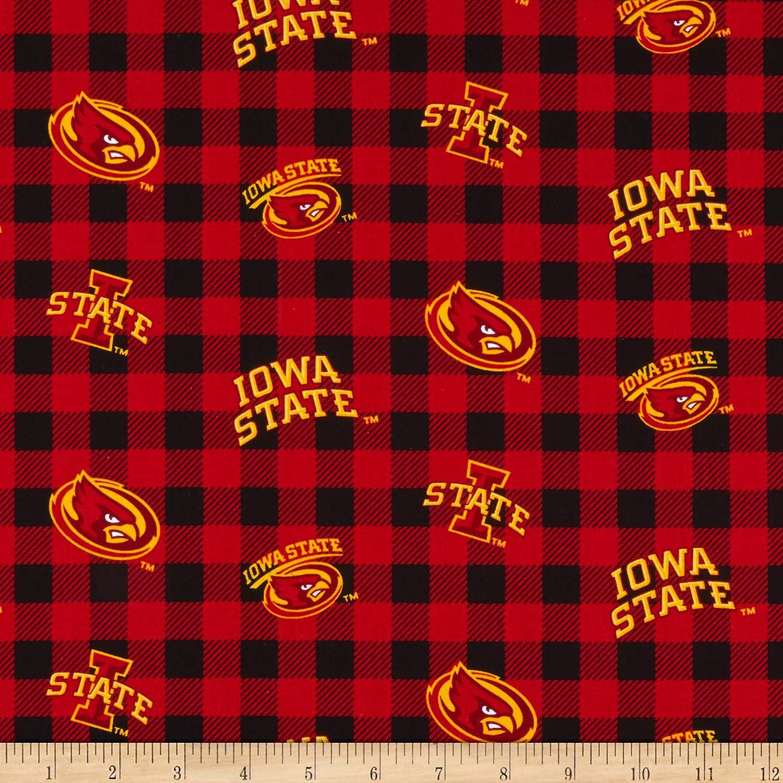 red Sykel Enterprises NCAA Iowa State Cyclones Buffalo Plaid Cotton Fabric