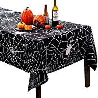 60x84 Inch Rectangular Halloween Tablecloth, Black Spider Web Table Cover, Spillproof Washable Polyester Table Topper…