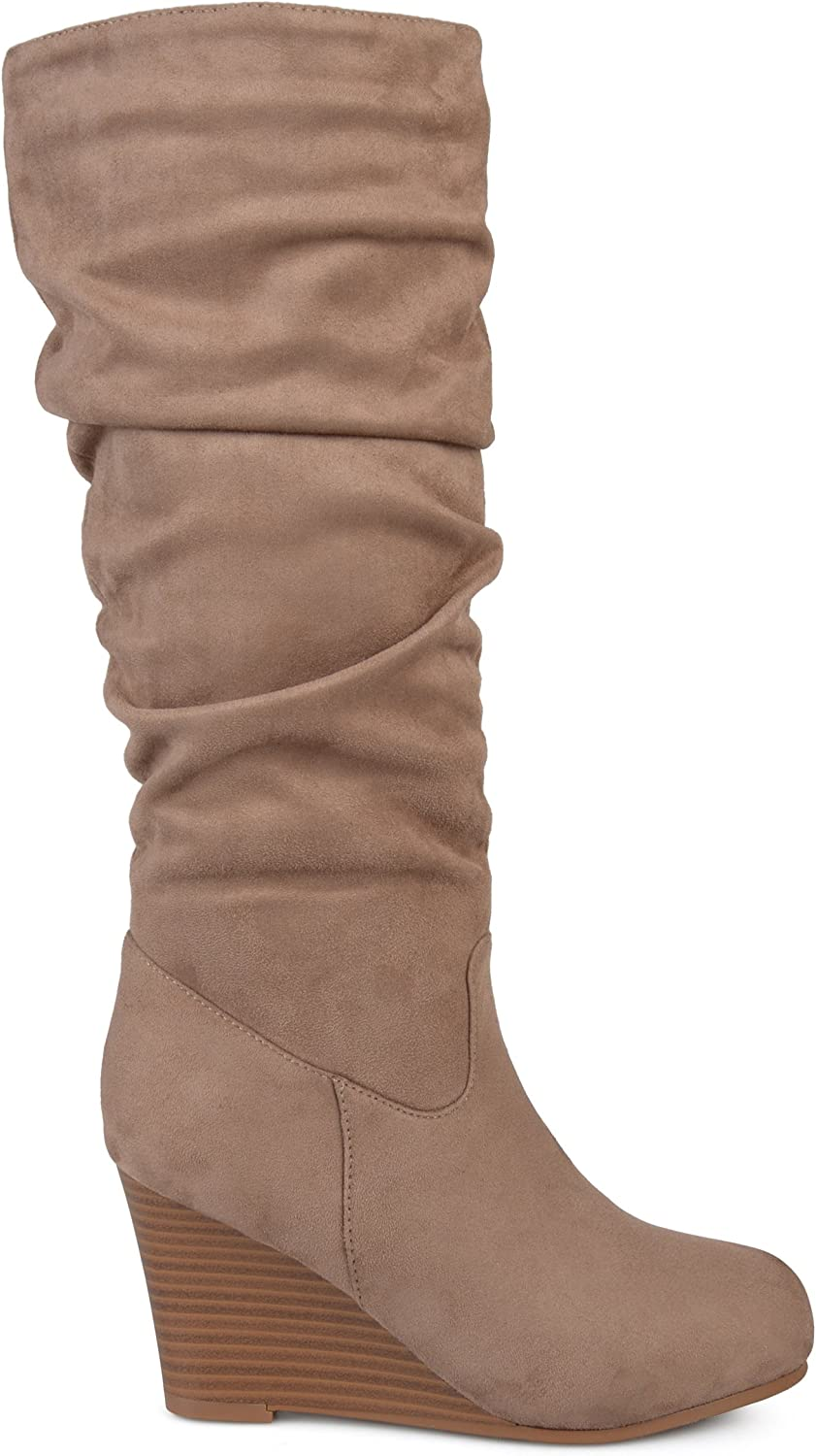 Womens Regular and Wide Calf Slouchy Faux Suede Mid-Calf Wedge Boots Brinley Co