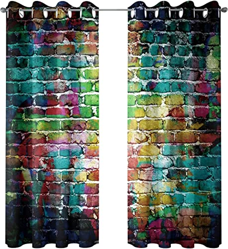 Riyidecor Colorful Brick Blackout Curtains Graffiti Wall Painted Shabby Chic Abstract Rustic Colors Street Art Fresco Printed Living Room Bedroom Window Drapes Treatment Fabric 2 Panels 52 x 84 Inch