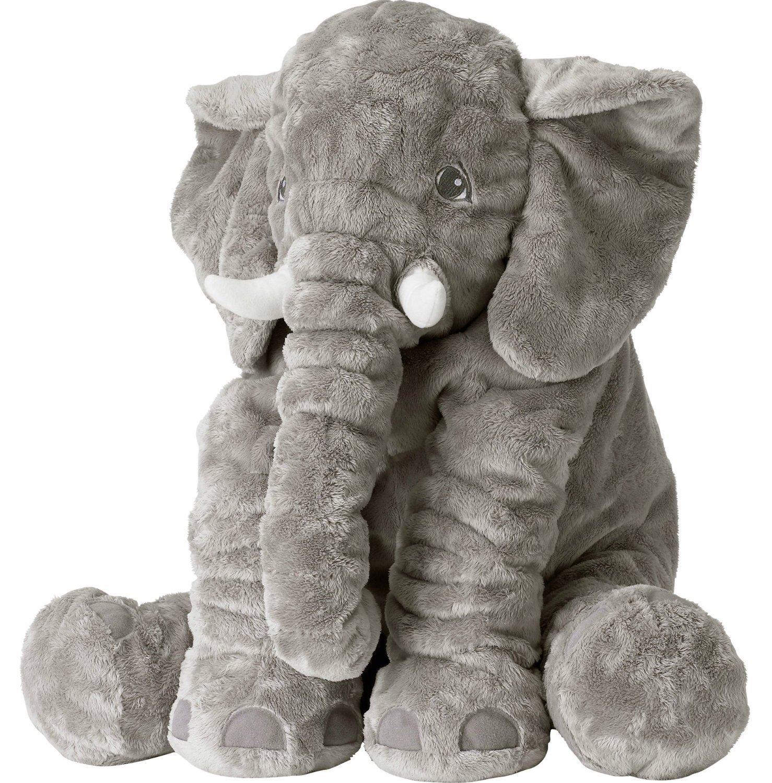 Rainbow Fox Elephant Stuffed Plush toy Cute Animals Cushion for Children's Gifts (L, Gray)