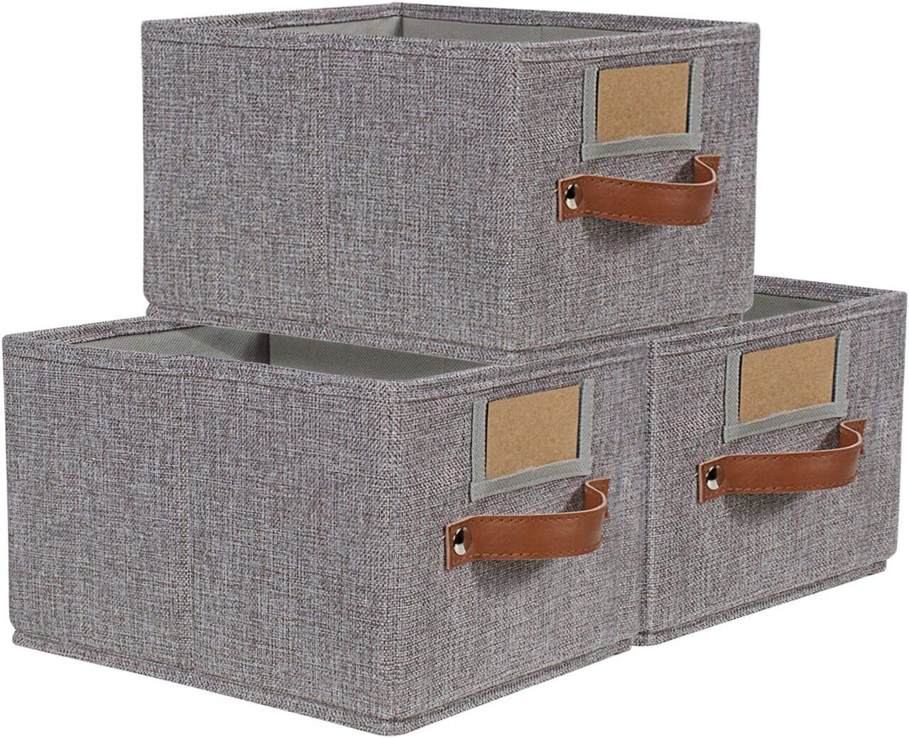 Foldable Storage Baskets for Shelves Set of 3, Fabric Storage Bins with Labels, Decorative Cloth Organizer Storage Boxes, Rectangle Closet Bedroom Drawers Organizers for Home|Office 11.4x8.7x6.7""