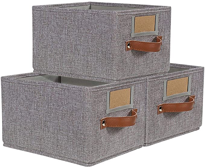 Large Fabric Storage Baskets for Shelves Decorative Storage Bins for Organizing 15.7x11.8x8.3 Foldable Jute Storage Bins for Cube Organizer Rectangle Shelf Baskets Organizing for Home|Office