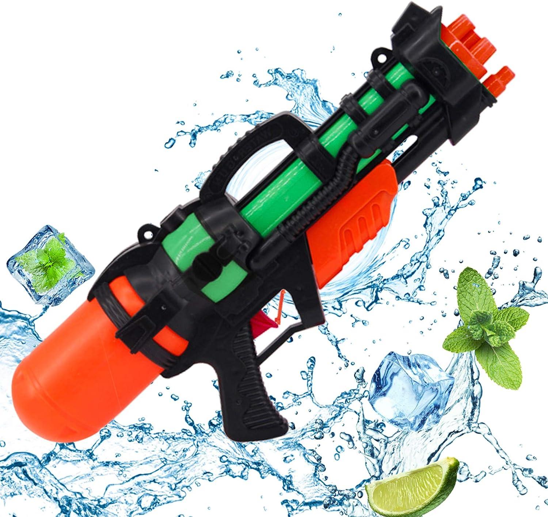 Sunshine smile Pistola de Agua Grande,Pistola de Agua Juguete,Pistola de Agua Alcance Largo,Pistola de Agua niños Adultos,Pistola de Agua de Verano para Playa (Negro Rojo)