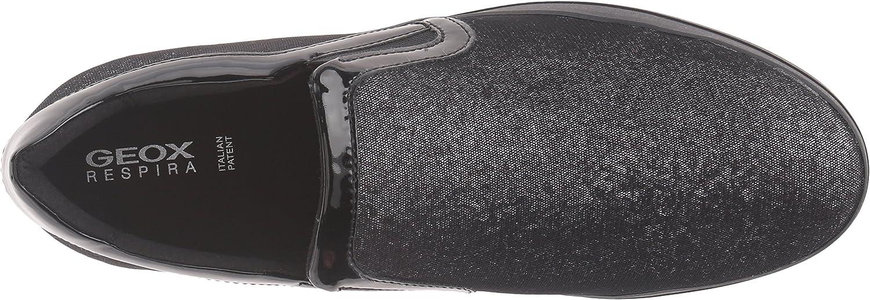 Geox D Hidence A, Zapatillas para Mujer Schwarz Black Silverc0039