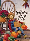 Furiaz Welcome Fall Harvest Scarecrow Garden Flag House Yard Outdoor Decorative Small Flag Pumpkin, Autumn Patio Lawn…
