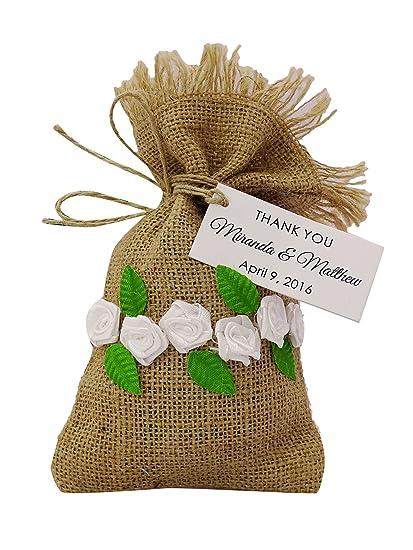Amazon.com: 20 Burlap Drawstring Gift Bags Small Jute ...