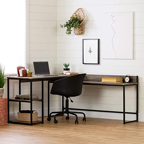 South Shore Evane L-Shaped Desk-Oak Camel