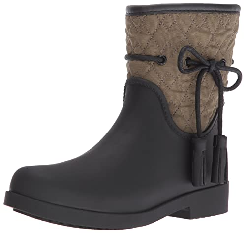 Jessica Simpson Women's Racyn Rain Boot, Black/Dark Olive, 5 M US