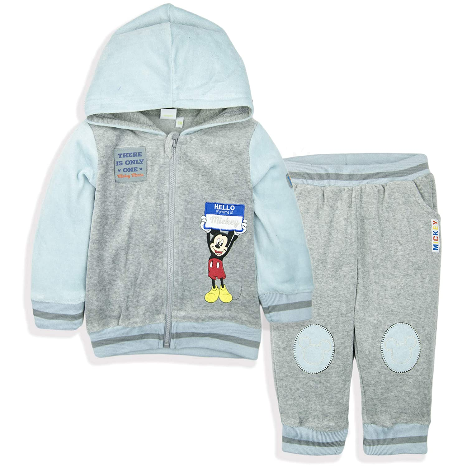 Disney Mickey Mouse Baby Boys Clothing Outfit Tracksuit Set Joggers Hoodie Warm Velvet - Light Blue 18