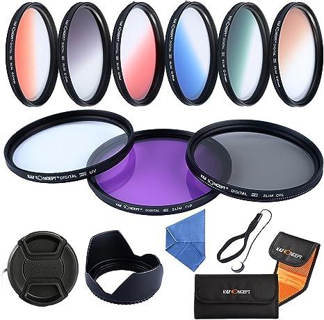 K&F Concept - Kit de Filtros para Objetivo 62 mm UV, CPL, FLD + Naranja Graduado, Azul Graduado, Gris Graduado, Rojo Graduado, Verde Graduado, Marrón Graduado: Amazon.es: Electrónica