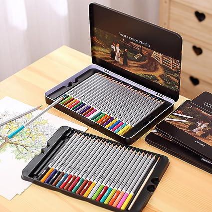 24 x Lapiceros Lapices Acuarelables Pinturas Solubles al Agua para Dibujo COLORES Profesional en estuche vintage de Metal 4361a: Amazon.es: Oficina y papelería