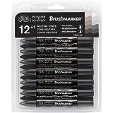 Winsor & Newton 0290031 BrushMarker (Neutrale Töne - für Zeichnungen, Kalligraphie, Design und Layouts, streifenfreies Zeichnen mit Keil- und Pinselspitze) 12er Set