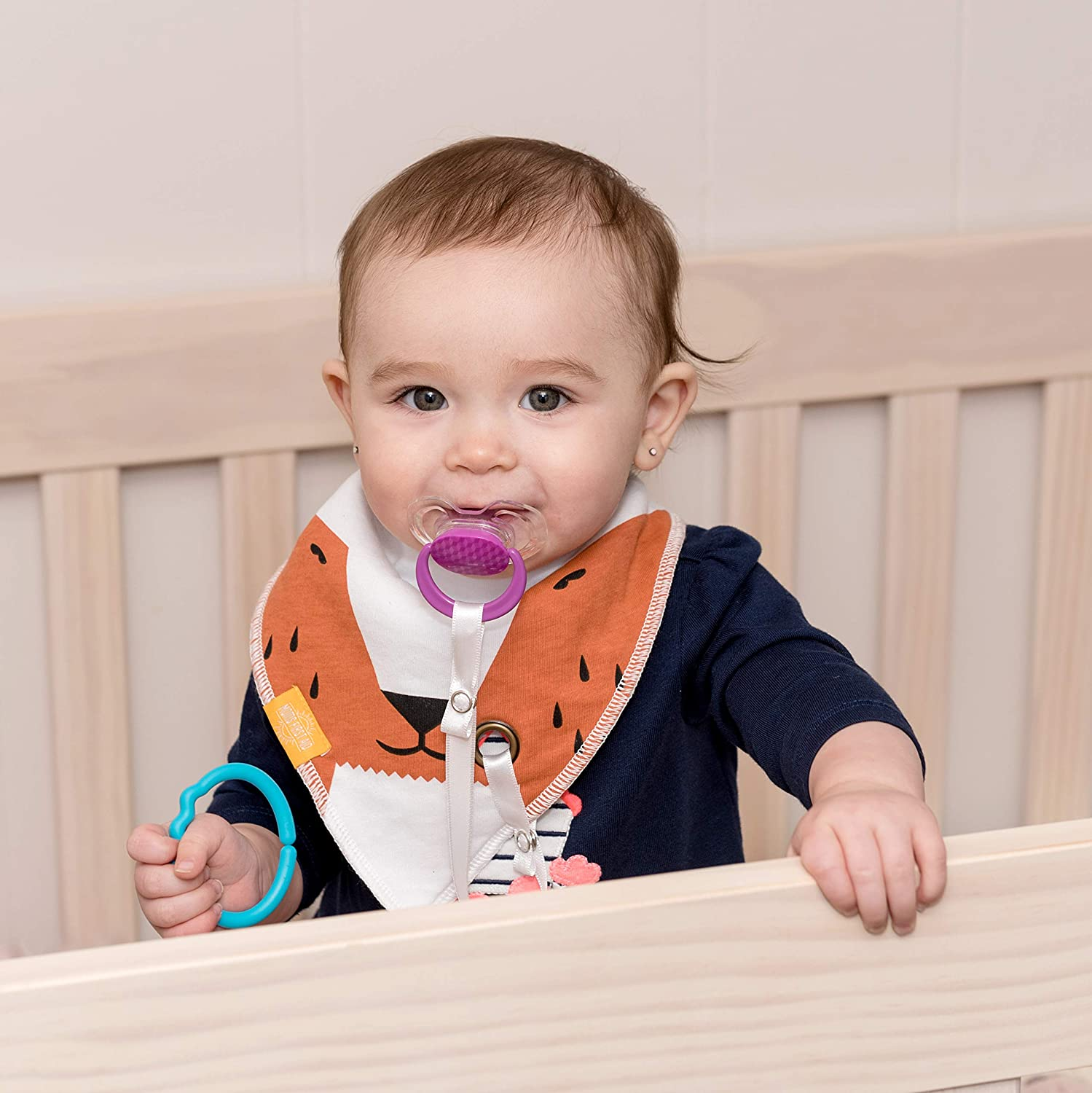 Spring, 5-Pack Teething Bib Bandana Bibs Set with Teether Absorbent Organic Drool Bibs with BPA-Free Silicone Teether Teething Toy Adjustable Snap for Baby Toddler Boys /& Girls