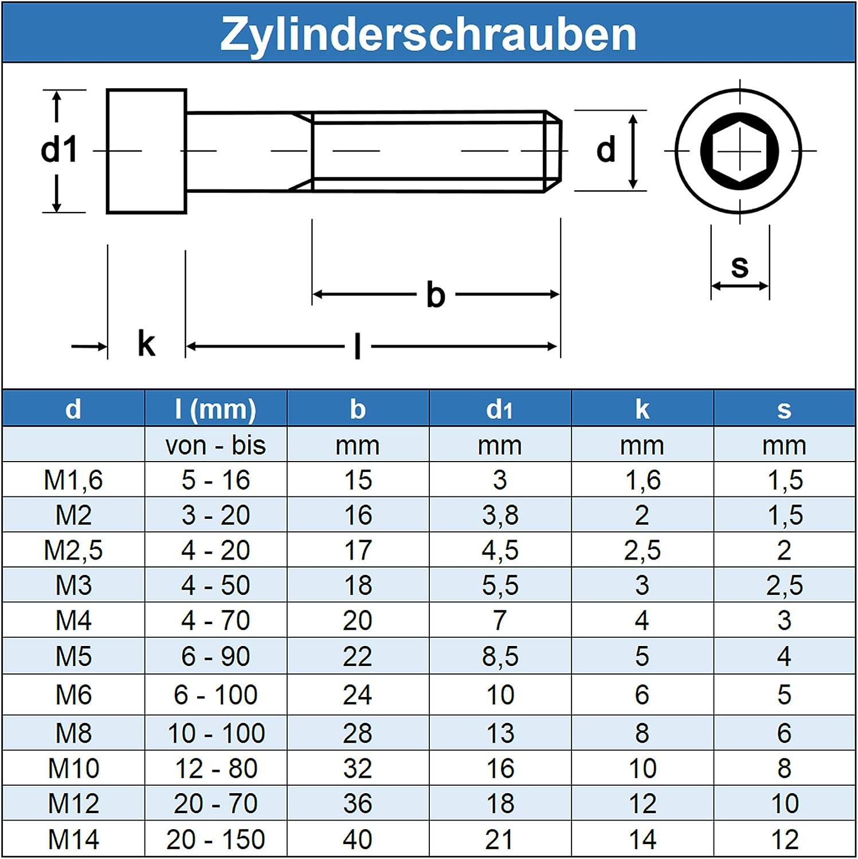 Eisenwaren2000 Edelstahl A2 V2A- rostfrei Gewindeschrauben - Zylinderkopf Schrauben ISO 4762 Zylinderschrauben mit Innensechskant M6 x 6 mm 10 St/ück DIN 912