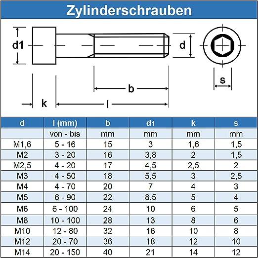 Gewindeschrauben Eisenwaren2000 - Zylinderkopf Schrauben ISO 4762 Edelstahl A2 V2A- rostfrei DIN 912 Zylinderschrauben mit Innensechskant M8 x 75 mm 20 St/ück
